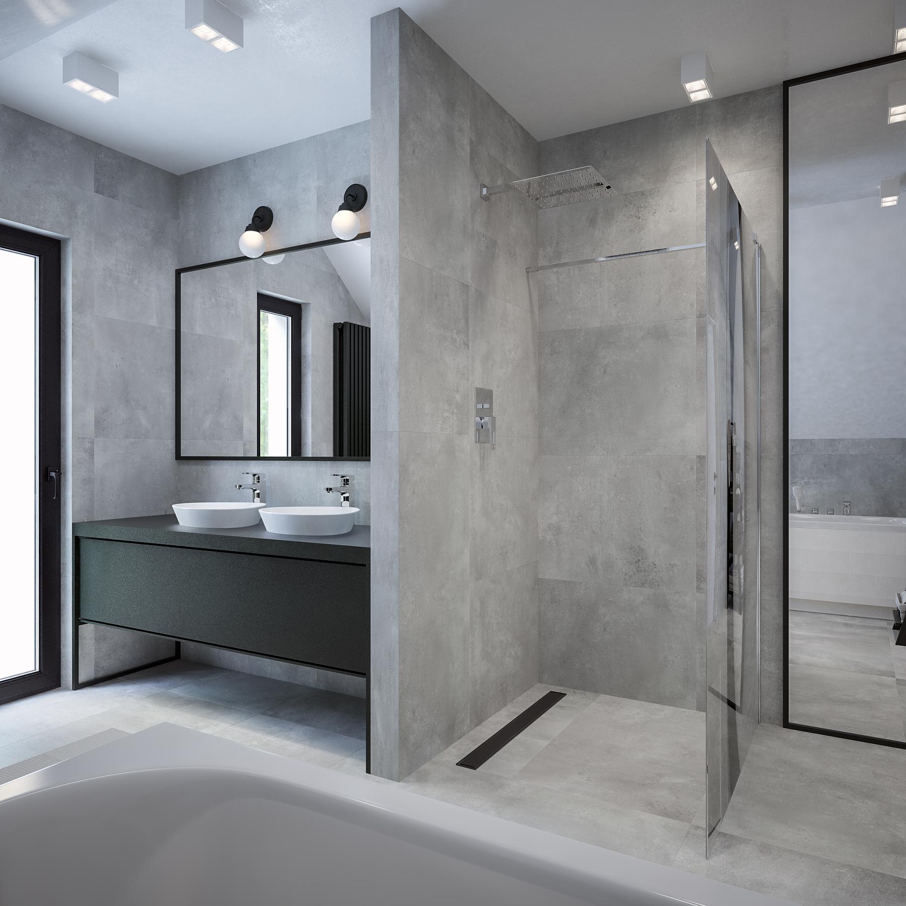 Łazienka – Modern w betonowych monolitach
